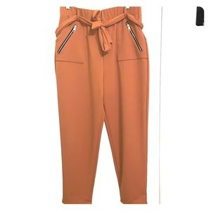 Tan Pants with Zippered Pockets & Belt